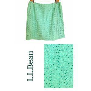 L. L. Bean Skirt Eyelet W/ Lining 100% Cotton